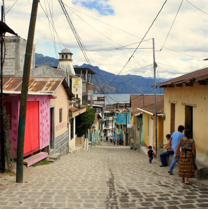 """This is the main road from """"Gringolandia,"""" where most of the hostels and tourist-centric shops/restaurants are, up to the market."""