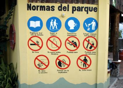 On Sunday, my day off from classes, I did a 6am hike up Volcan San Pedro. There are lots of rules for park.