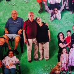 Noa's grandparents, in an older, giant mural of all community members.